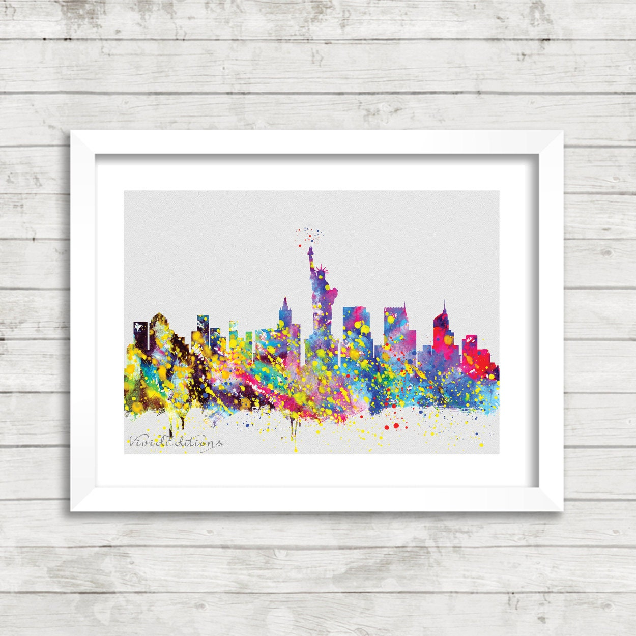 Watercolor New York: New York City Skyline Watercolor Print Statue Of By