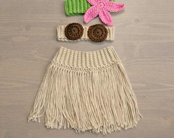 Crochet Hula Costume, Crocheted Baby Set, Crochet Baby Costume, Crochet Set, Baby Shower Gift, Newborn Photography Prop, Baby Girl, Hula Set