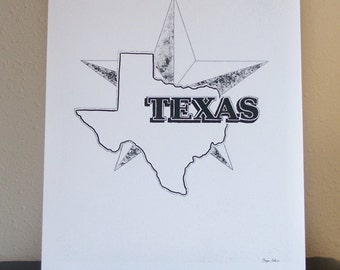 Texas Art, Texas Star, Lone Star, Texas Decor, 11x14 original illustration, black and white, pen ink and acrylic drawing