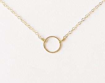 Eclipse - tiny gold circle necklace - delicate gold necklace - suspended circle necklace - gold karma circle necklace - friend gift