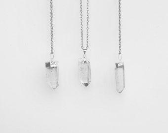 Quartz Crystal Necklace / silver plated raw quartz pendant necklace