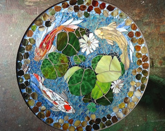 """MOSAIC TABLE - koi fish ART  - stained glass mosaic art - 30"""" round indoor or outdoor end side table top or patio mural"""