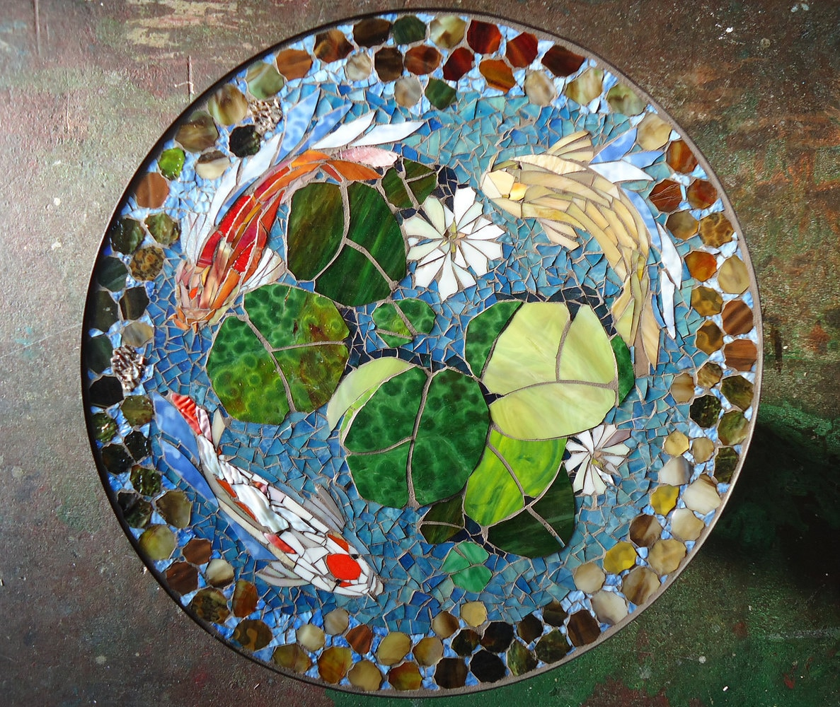 Mosaic table koi fish art stained glass mosaic art for Garden table fish pond