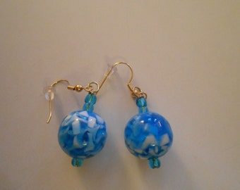 Blue and White Spherical Glass Earrings Item No. 14