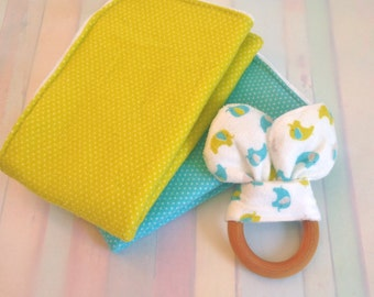 Bunny + Burp Bundle - 1 Bunny Ear Teether and 1 Best Burp Cloth - Wooden Teething Ring - Sensory Baby Toy - Baby Shower - Gifts Under 20