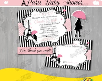 Paris Baby Shower Invitation,Paris Baby Shower Invite, Printable Paris  Invitation, Parisian Baby