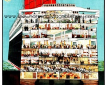 Vintage Cunard Line from the United Kingdom Travel Poster Print Digital Download Printable Image Instant Download For DIY Paper Crafts