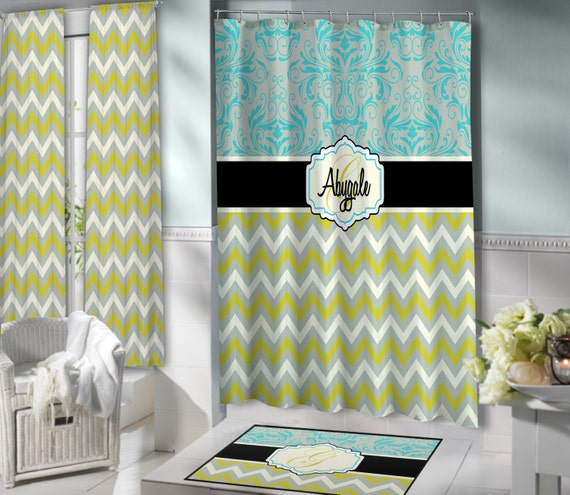 Green Grey Turquoise Shower Curtain Fabric By