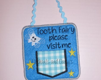 Tooth Fairy Square door hanger  Embroidery design file