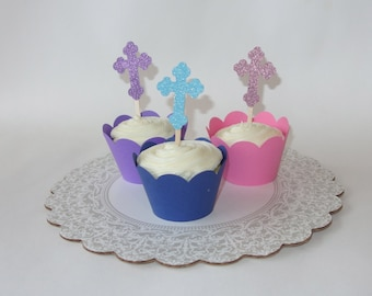 Cross Cupcake Toppers - Religious Cupcake Toppers - Baptism Cupcake Toppers