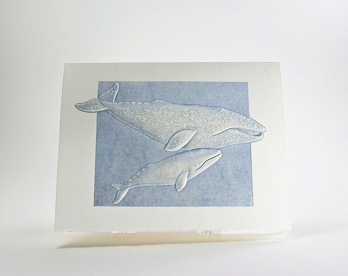 Gray Whales Note Card. Mom and Baby. Letterpress. Embossed. Single Card. Blank Inside.