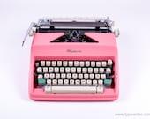 Olympi Monica sm9 - vintage working typewriter - pink typewriter - portable typewriter