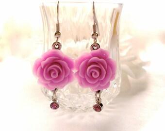 Pink Roses Dangle Earrings, Silver Filigree Romantic Earrings, Rose Flower Earrings, Shabby Chic Jewelry, Gift for Her, Shabby Chic Earrings