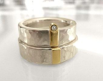 Bagues en argent sterling avec or et brillant, anneaux de partenaire de mariage, bagues de mariage, bagues de mariage, recyclage - à la main par SILVERLOUNGE