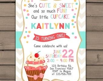 Cupcake Birthday invitation Cupcake Party Invite Cupcake Invitation Pink teal gold Girl birthday photo Chevron Digital PRINTABLE ANY AGE