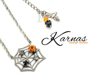 SHIMMERING WEB Mixed Size Crystal Halloween Necklace Made With Swarovski Elements *Antique Silver *Karnas Design Studio *Free Shipping*