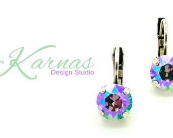 CRYSTAL PARADISE SHINE 8mm Crystal Chaton Drop Earrings Swarovski Elements *Pick Your Finish *Karnas Design Studio *Free Shipping*