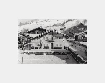 1940s Real Photographic Postcard of Saalbach-Hinterglemm, Austria - Salzburg Austrian old photograph skiing photo black white chalet snow