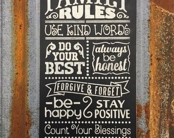 Family Rules - Handmade Wood Sign