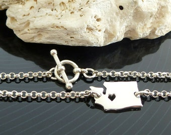 Sterling Silver Washington Bracelet / Custom Heart / Small Washington Bracelet / Love Washington / State Bracelet