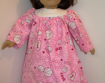 "18 inch Doll Clothes, Pink ""SOCCER"" Nightgown, 18 inch AG American Doll, Soccer Balls-I Love Soccer! 18 inch Doll Clothes, Ready for Bed!"