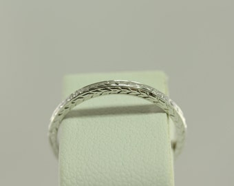 Antique Art Deco Wheat & Floral Styled 14kt White Gold Wedding Band