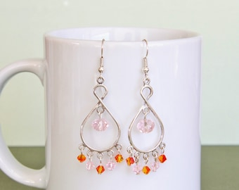Chandelier Dangle Earrings- Crystal, Pearl