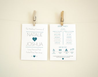 25+ Printed Wedding Program | Custom Design Heart of Love | Timeline Ceremony simple cute