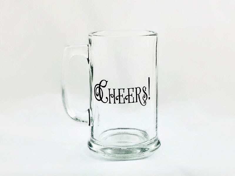 Beer Mug Engraved Etched Glass Cheers by RabbitRunRoad on Etsy