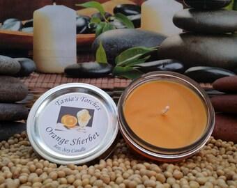 Scented Soy Candle Orange Sherbet / Natural Mason Jar Candle