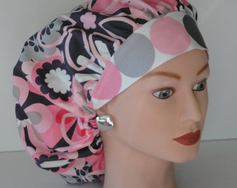 The Perfect Size Bouffant Scrub Hat...Pink/Gry/White Floral