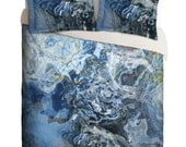 Duvet Cover with abstract art, king duvet cover or queen duvet cover in dark blue and ight blue, contemporary bedroom decor, Liquid Assets