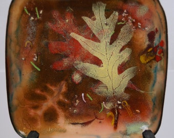 Copper Enamel Plate Artist Signed Leaf Design Square Shape Fall Colors FREE SHIPPING