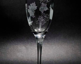 Falling Leaves Champagne Flutes. Hand Engraved Set of Two. Custom Made To Order With Free Personalization