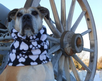 WARM fleece neck warmer, big dog snood, scarf, gaiter, neckwarmer, cowl, muffler; toasty Colorado scarves w/ paws, hearts, animal prints
