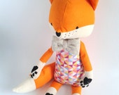 MINKE the fox. made-to-order. gift for children. eco toy. stuffed fox. toy fox. kids room decorative fox.