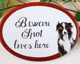 Custom Beware of dog sign, personalized dog sign, pet signs, dog portrait, dog lovers gift, fence house sign