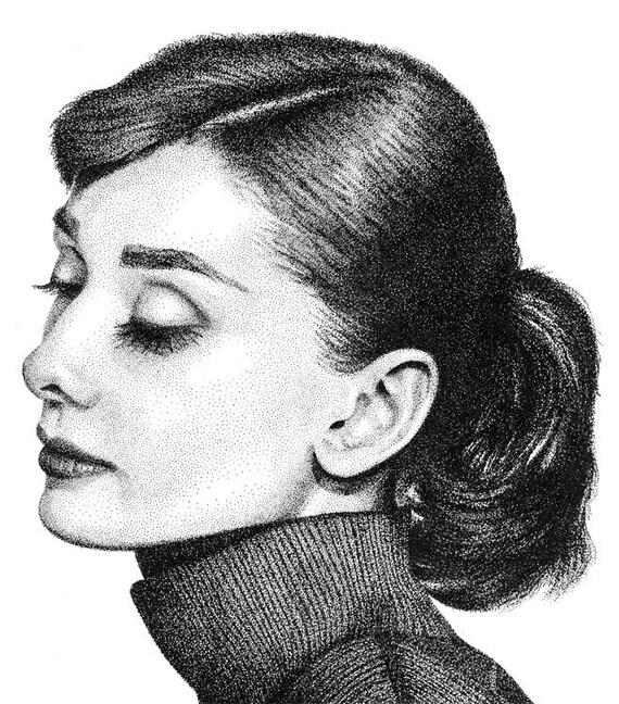 Audrey hepburn ink stippling drawing illustration giclee art print