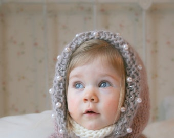 KNITTING PATTERN hooded cowl Adele with beads and a bow (baby, toddler, child, adult sizes)