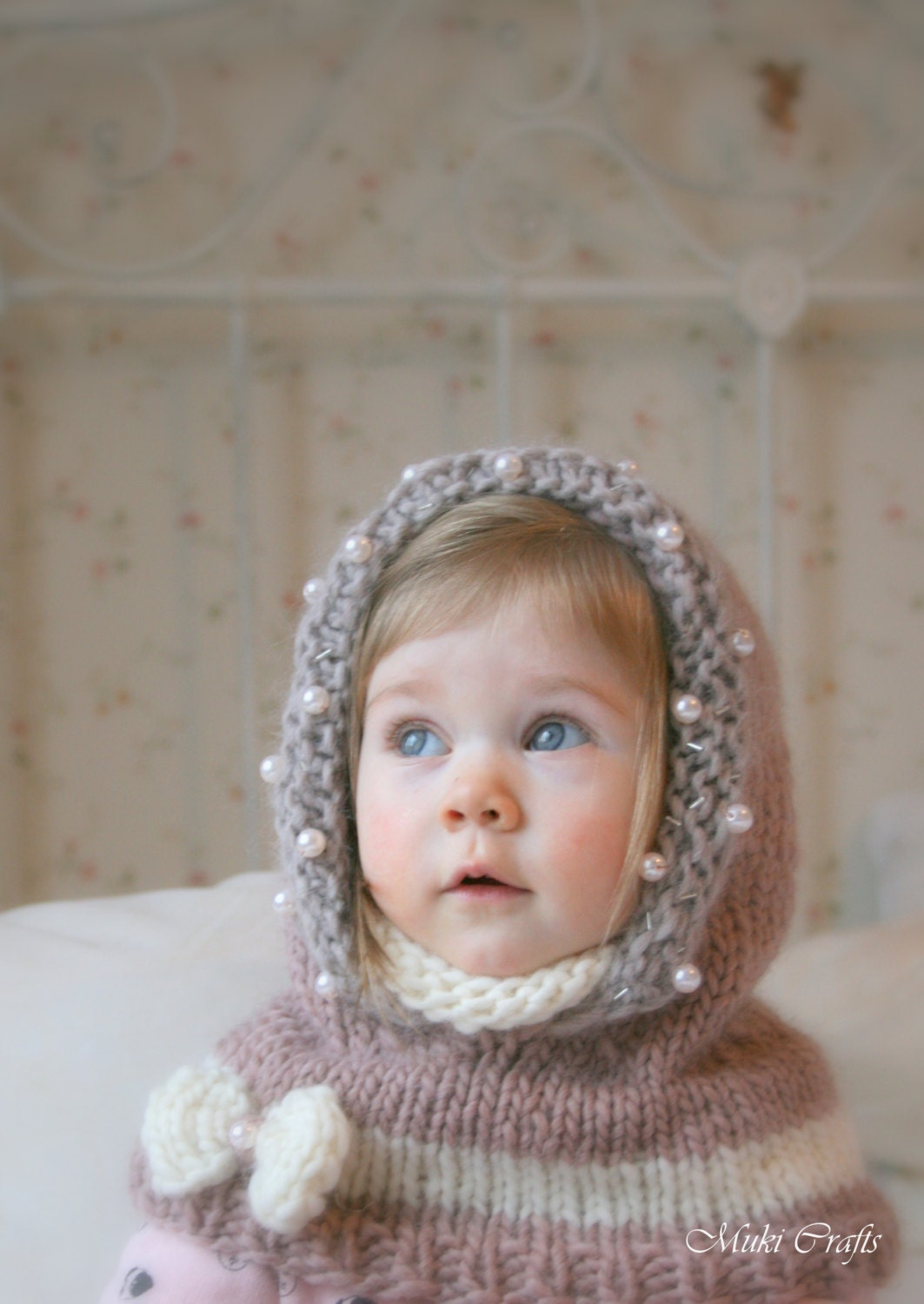 Knitted Cowl Pattern For Toddler : KNITTING PATTERN hooded cowl Adele with beads and a bow baby