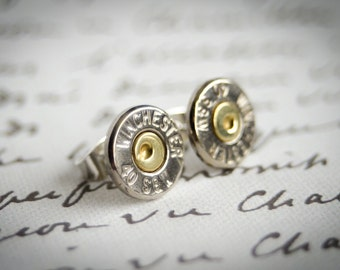 Bullet Earrings, Two Toned 40 Caliber Smith and Wesson bullet earrings, Lead/Nickel-free posts