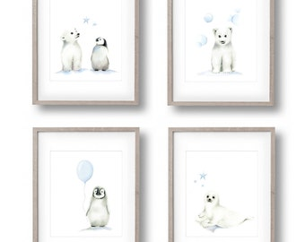 Polar Bear Nursery Art, Set of 4, Baby Boy Nursery, Arctic Animals, Penguin, Polar Bear, Seal, Childrens Wall Decor, Painting, Baby Animals