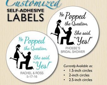 He Popped the Question - Popcorn Box Stickers, Lollipop Label, Engagement Party, Bridal Shower Favors, Proposal Silhouette, Personalized