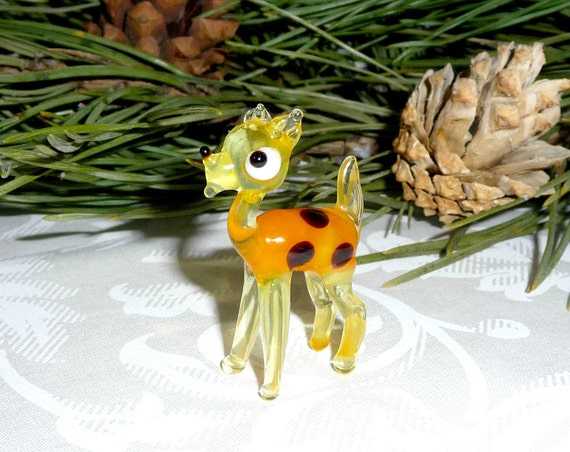 Glass Bambi Deer Figurineart glass animal figure yellow brown cute