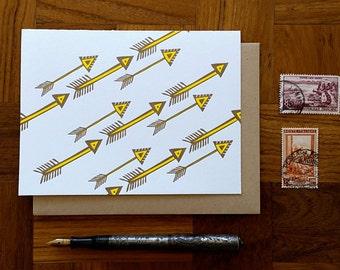 Diagonal Arrows, Letterpress, Folded Note Card, Blank Inside