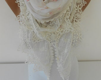 Lace Scarf White Scarf Shawl Tulle Cowl Scarf White Wedding Scarf Bridal Accessories Gift Ideas For Her Women Fashion Accessories DERINS