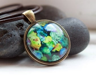 Vintage style Stone pendant Gem jewelry Mineral necklace OW38