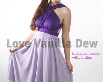 Bridesmaid Dress Convertible Dress Disney Purple with Lilac Chiffon Knee Length Wrap Infinity Dress Wedding Dress