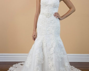 Sweetheart Lace beading backless White Wedding Dress, Mermaid Style Bridal Gown