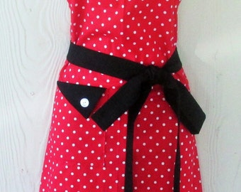 Polka Dot Apron , Red and White Polka Dots , Red and Black Apron , Vintage Style Apron , Women's Apron , KitschNStyle